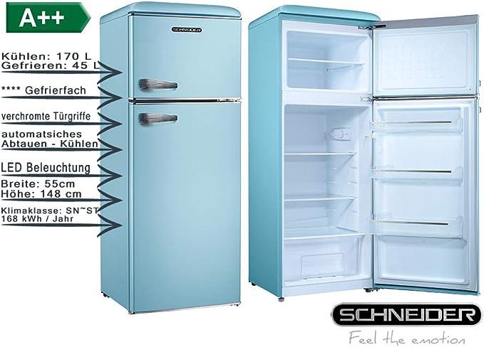 Refrigerador-congelador retro azul 148 cm A++ Frigorífico 215 ...