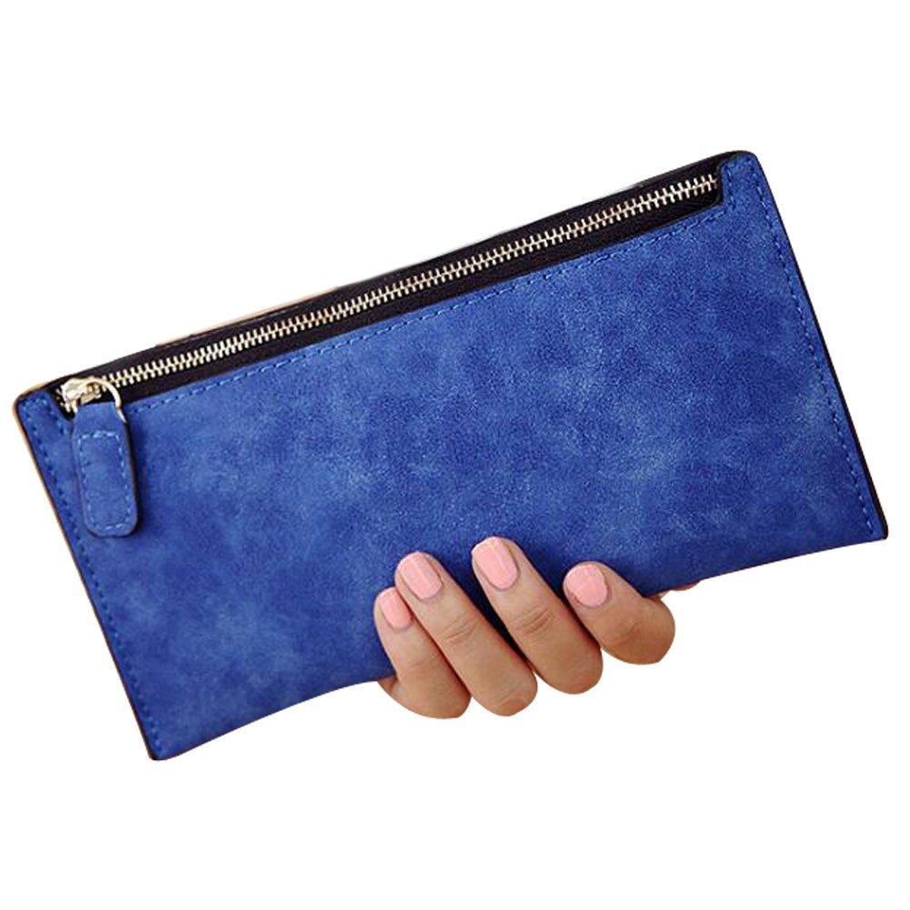LesTT Women Purse Wallet Card PU Leather Handbag Holders Thin Zip (Blue)