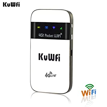 KuWFi 4G LTE Pocket WiFi Router Unlocked LTE 4G Mobile WiFi Hotspot  Portable 4G Router with sim Card Slot Goods for Travel and Business Trip  Support