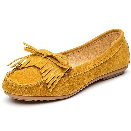 Mocasines De Plataforma Plana De Las Mujeres Elegantes De Gamuza Mocasines Flecos ResbalóN En La Borla MocasíN De ConduccióN SeñOras SóLidos Zapatos ...