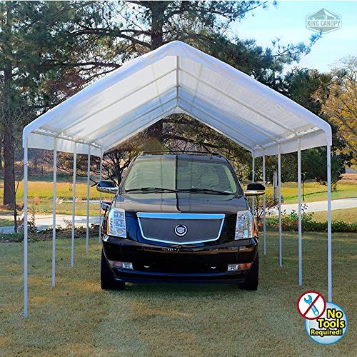 King Canopy C81027PC 10-Feet by 27-Feet Universal 10-Leg Silver Canopy, White