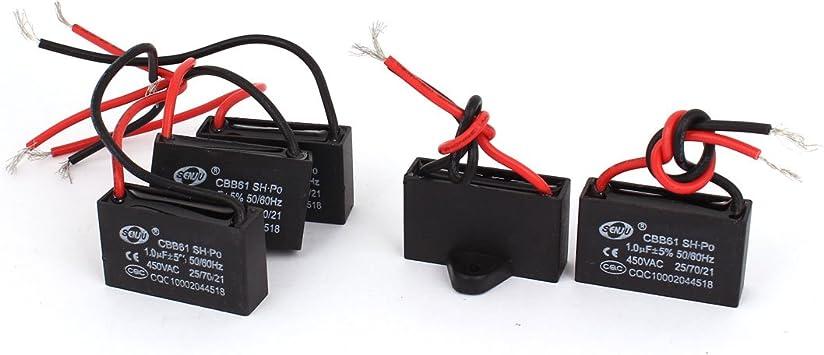 Aexit Ventilador CBB61 AC450V 1uF 2 cables Polipropileno ...