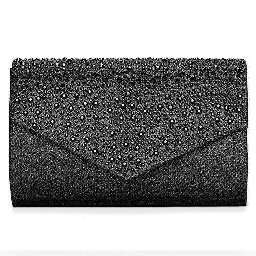 CurvChic Women Evening Bag Clutch Envelope Rhinestone Party Handbag Bridal Prom Purse (Black)