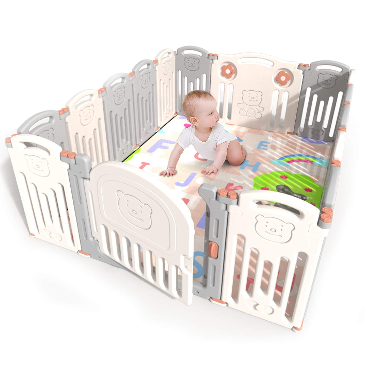 Henf Foldable Baby Playpen Kids 14 Panel Activity Centre Safety Play Yard Indoor Baby Fence Safety Design Learn Walk with Locked Door for 8 Months