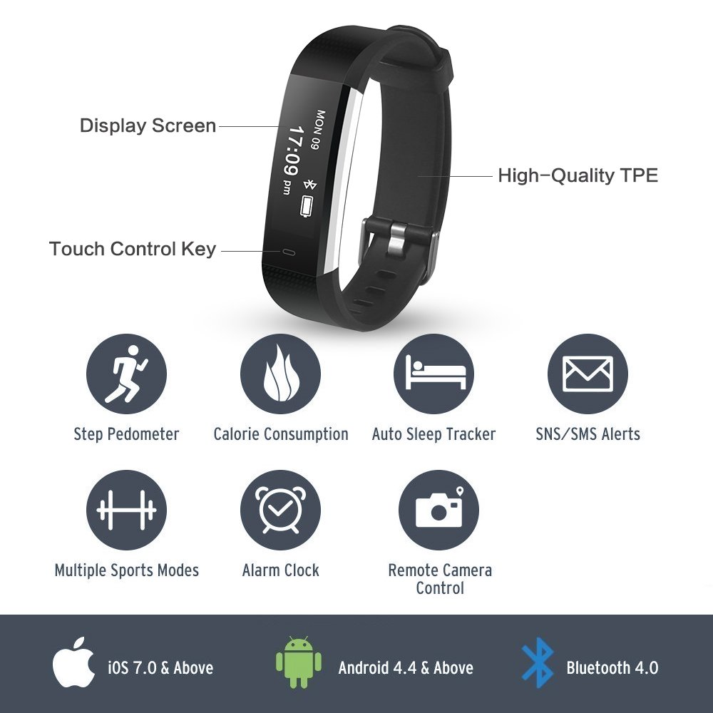Amazon.com: Damusy Fitness Tracker, Reloj Inteligente ...