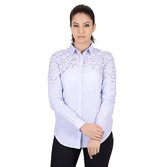 2093676d614c1 MissGudi Blue Cotton Full Sleeves Casual Shirt  Amazon.in  Clothing    Accessories