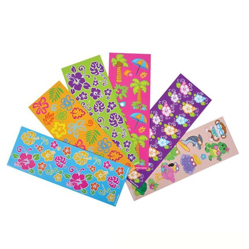 Party Bag Stuffer Great Party Favor 100 Sheets Novelty Toys Kayco USA Giveaways Kidsco Assorted Tropical Stickers Cool and Fun Summer Themed Scrapbook Decorations