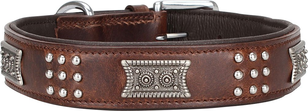 46-56cm, 3,4cm Knuffelwuff Sheridan Real Leather Dog Collar, X-Large, 46-56 cm, Brown