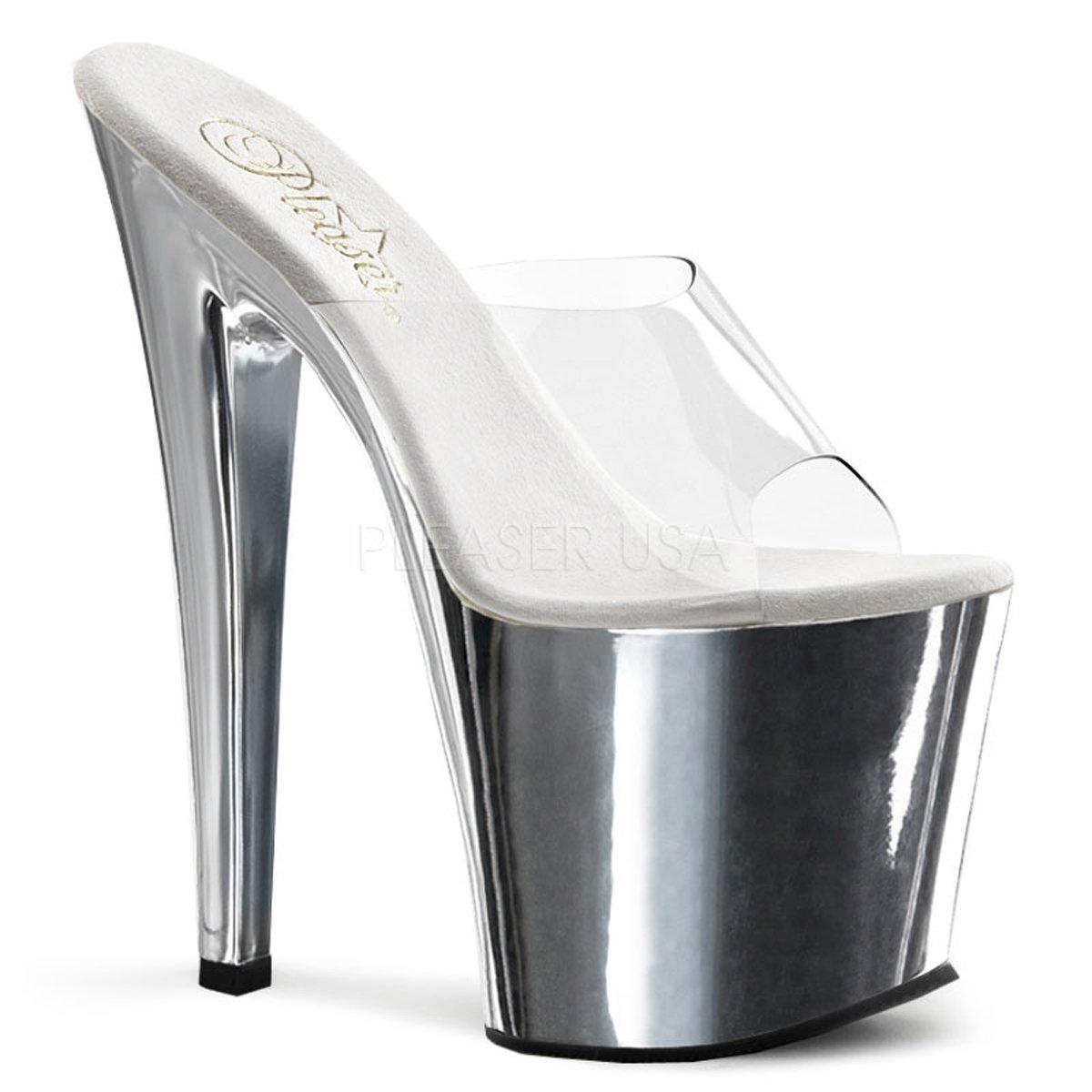 Pleaser Taboo-701 Exotic Dancer, Clubwear Super High 7 1/2 Platform Sexy Sandal. B01G4EVCN4 10 B(M) US|Clear/Silver/Chrome