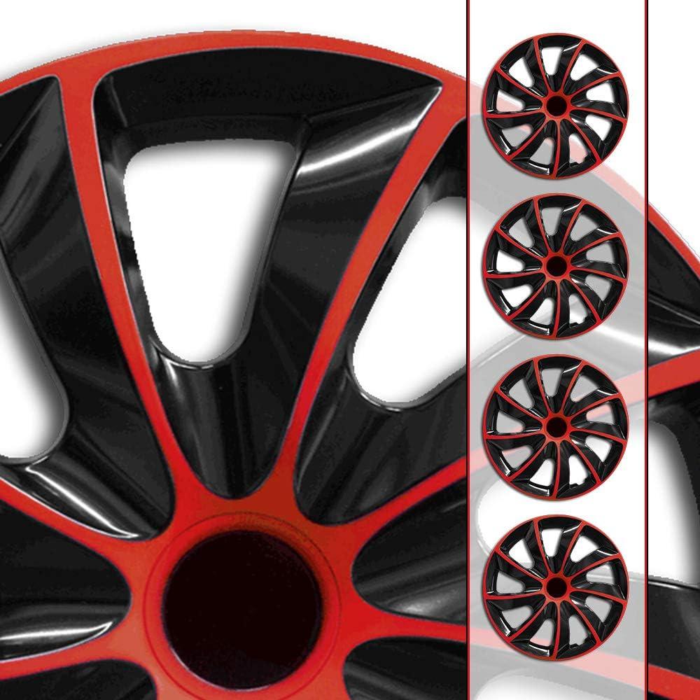 Eight Tec Handelsagentur Farbe Größe Wählbar 16 Zoll Radkappen Radzierblenden Quad Bicolor Schwarz Rot Passend Für Fast Alle Fahrzeugtypen Universal Auto