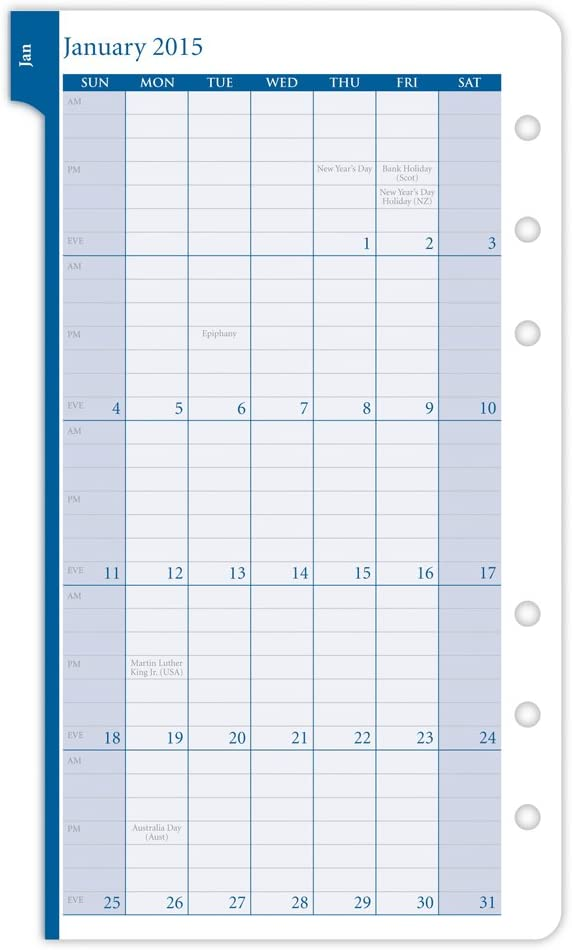 Day Timer Garden Path 2015-2-page-per week Planner Refill Portable Size (13496)