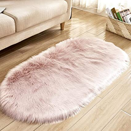 Amazon.com: 40x71in Dusty Pink Faux Fur Area Rug -Shaggy ...