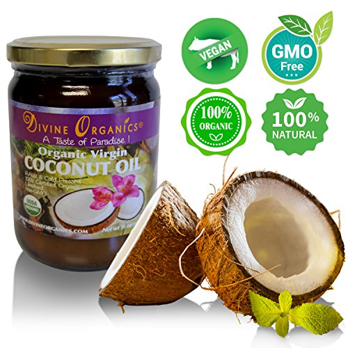 Divine Organics 16oz Coconut Oil - Certified Organic, non-GMO, Extra Virgin - No - Day Nectar Family Care