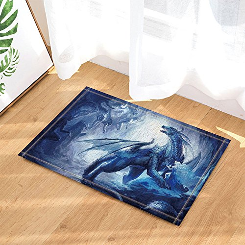 NYMB Fantasy Decor, Dragon with Wing Protect a Girl for Kids Bath Rugs, Non-Slip Doormat Floor Entryways Indoor Front Door Mat, Kids Bath Mat, 15.7x23.6in, Bathroom Accessories by NYMB (Image #1)
