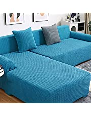 Upgrade Sectional Couch Covers 2Pcs L-Shaped Sofa Covers Softness Sofa Slipcovers,Stretch Couch Covers for Dogs Pets Kids,Furniture Protector Covers for Chaise Lounge for Living Room,Blue