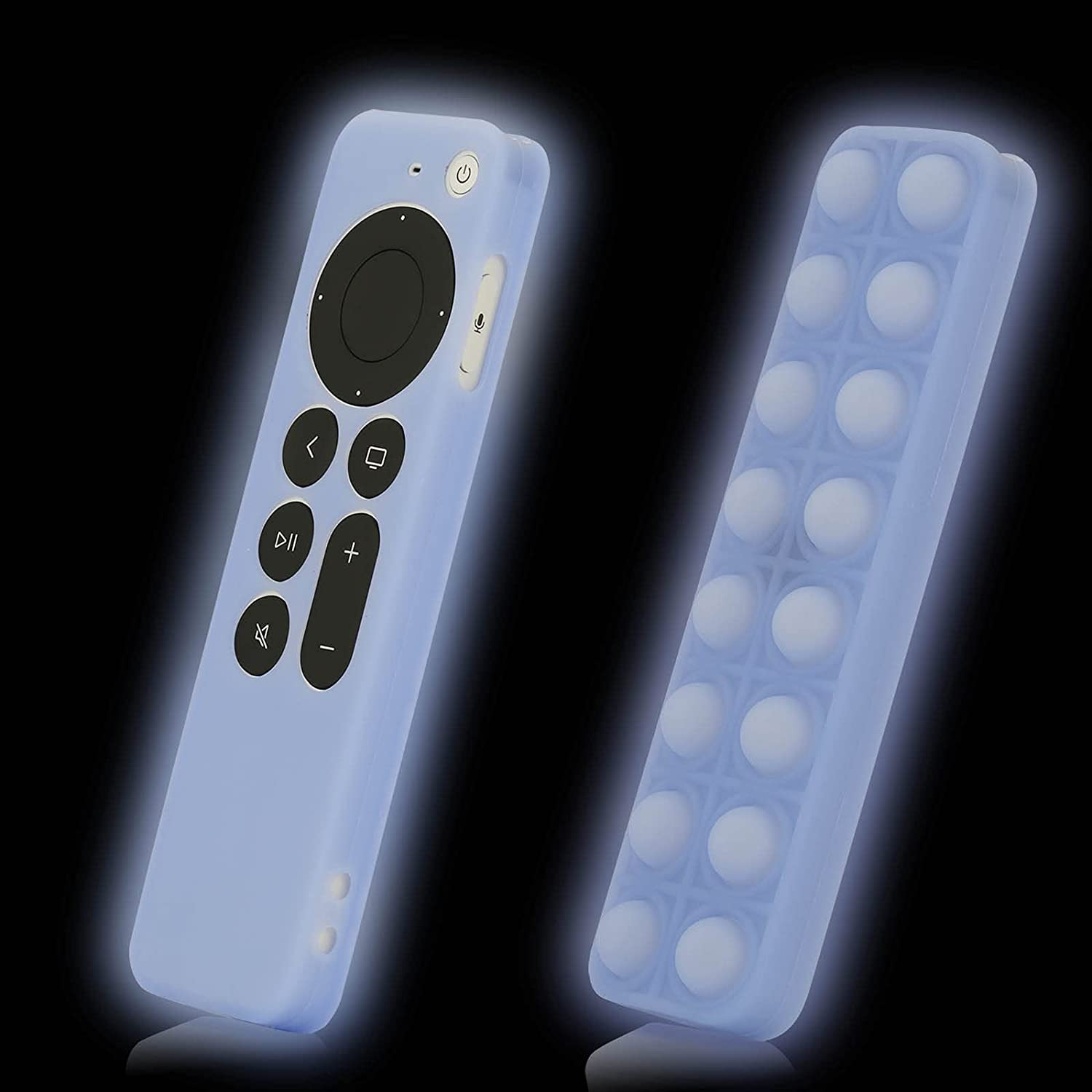 Blue Case Cover Replacement for New Apple 4k TV Box Series 6 Generation / 6th Gen 2021 Siri 2nd Remote, Silicone Skin Shockproof Protector Glow in Dark - LEFXMOPHY