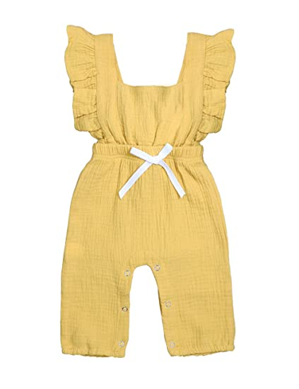 ea011c1ff TUEMOS Baby Girls Clothes Sleeveless Ruffle Romper Summer Bodysuit Jumpsuit  One-Piece Outfit(0