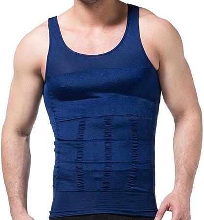 Haloku Hombre Entallado Camiseta, Faja Reductora Reductor Camisa, Cintura Abdomen Ropa Interior Chaleco de Compresión Elástico Entallado Ropa Reductora - Azul, X-Large: Amazon.es: Hogar