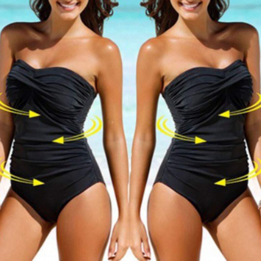 Women Strapless Monokini Lady One Piece Ruched Solid Swimsuit Plus Size High Waist Bating Suit Swimwear Beachwear