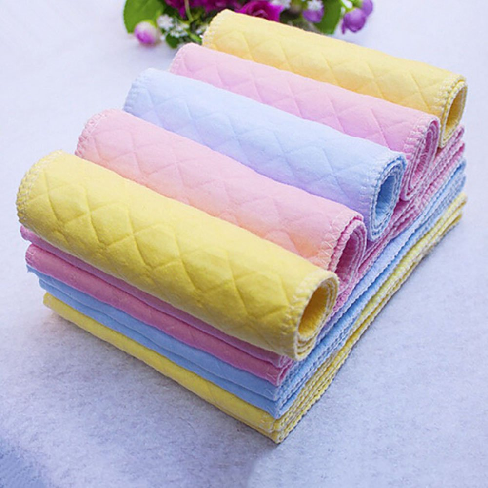 Blue Steellwingsf 10Pcs Reusable Baby Cotton Cloth Diaper Washable 3 Layers Nappy Liners Inserts