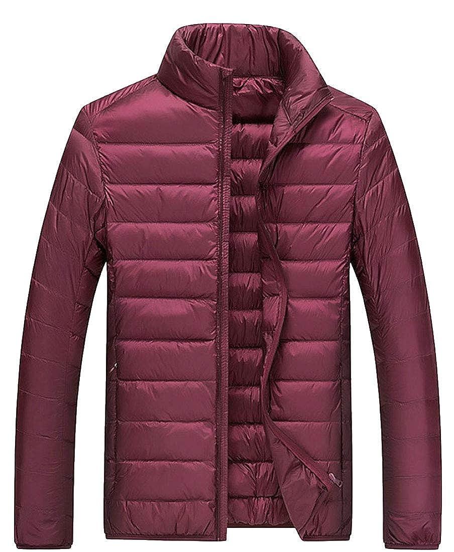 omniscient Men Ultra Light Weight Stand Collar Coat Packable Short Down Jacket