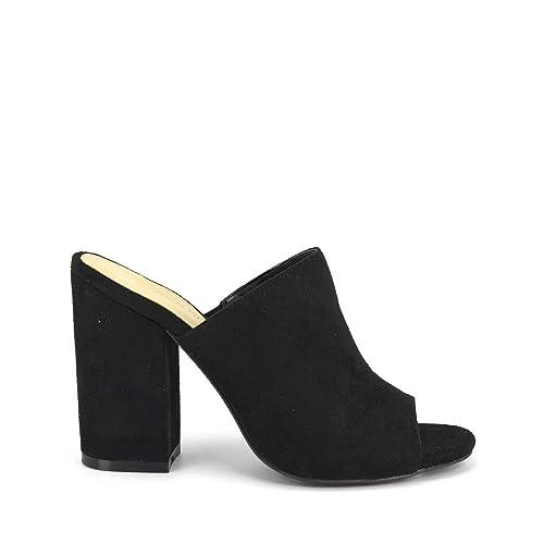 3b59403fd5e GottaBe Shoes Womens Heels Avila Suede by Wild Diva Slip-On Peep Toe Chunky  Stacked Block Heel Mule