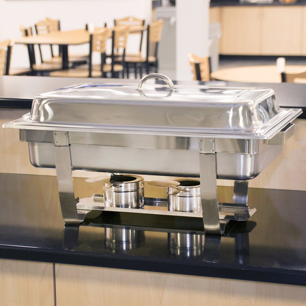 8 Quart Stainless Steel Chafer Full Size Chafer Chafing Dish W/Water Pan, Food Pan, Fuel Holder and Lid For Catering Buffet Warmer Set (Rectangular)