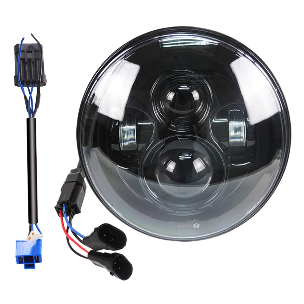 Belt&Road 7 Inch Round Super White LED Headlight for 2014-2019 Harley Davidson Street Glide Special, Hi-Lo Beam Headlamp With Dual Beam Adapter, Black Housing BeltandRoad