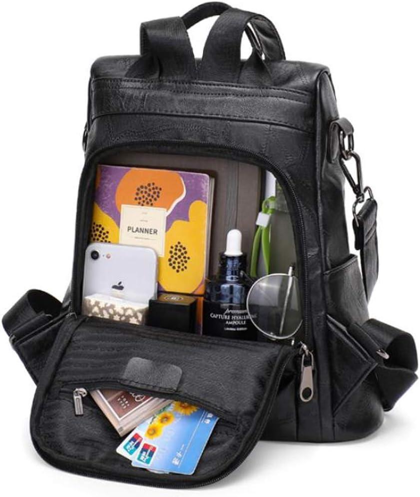 Damenrucksack Double Shoulder Leder Rindsleder Anti-Diebstahl wasserdichte Mode Wilde einfache Reisetasche (Color : BlackB) Blacka