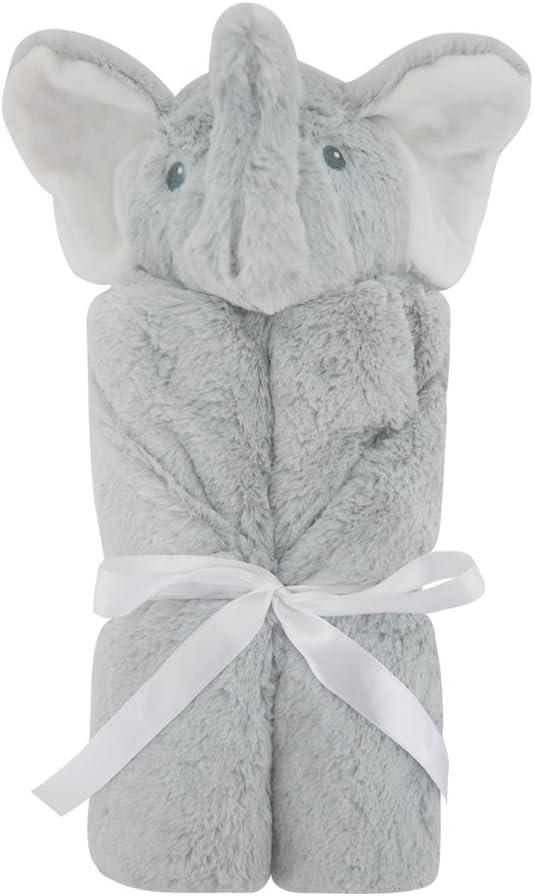 Kavkas ベビーブランケット ファー 冬 新生児 着る毛布 赤ちゃん出産祝い男の子 保温性 ふわふわ 76x76cm (グレーゾウ)