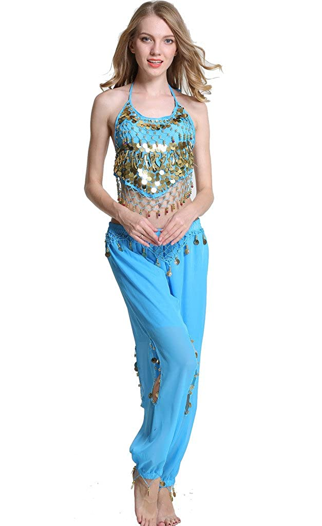 ZLTdream Lady's Belly Dance Chiffon Banadge Top and Lantern Pants FM8049