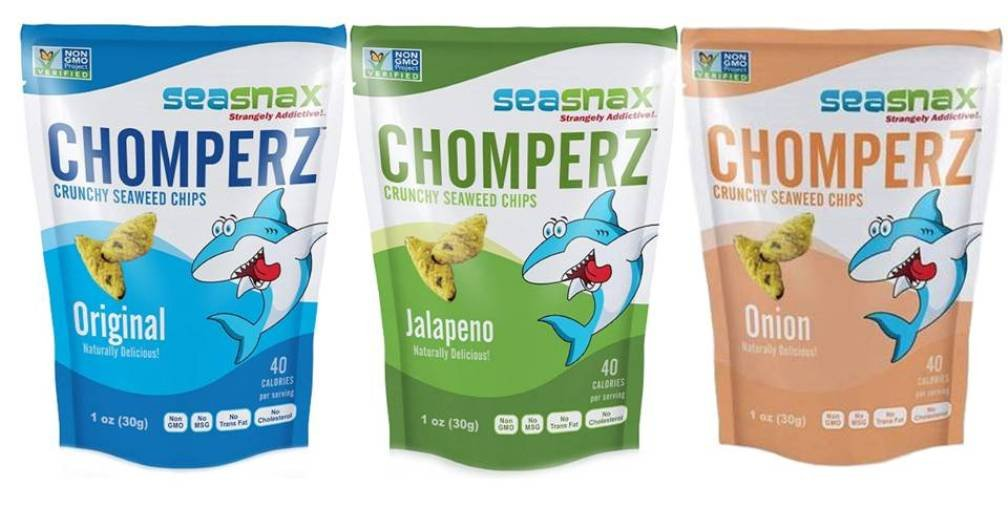 SeaSnax Chomperz Crunchy Seaweed Chips 3 Flavor Variety Bundle: (1) SeaSnax Chomperz Jalapeno, (1) SeaSnax Chomperz Original, and (1) SeaSnax Chomperz Onion, 1 Oz. Ea. (3 Bags Total) by SeaSnax