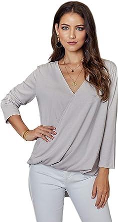 Tinani Womens V Neck Mesh Panel Blouse 3//4 Bell Sleeve Casual Loose Top Shirt