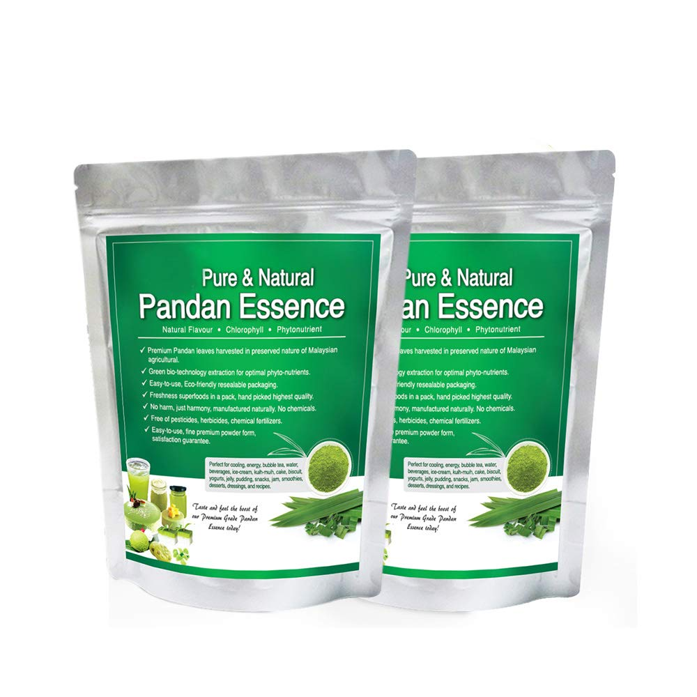Vanilla of the East, Natural Asian Gourmet Beverage Ingredient, Natural Flavor, Natural Color Chlorophyll of Pandan Leaf Extract Powder (100g) 2 Packs