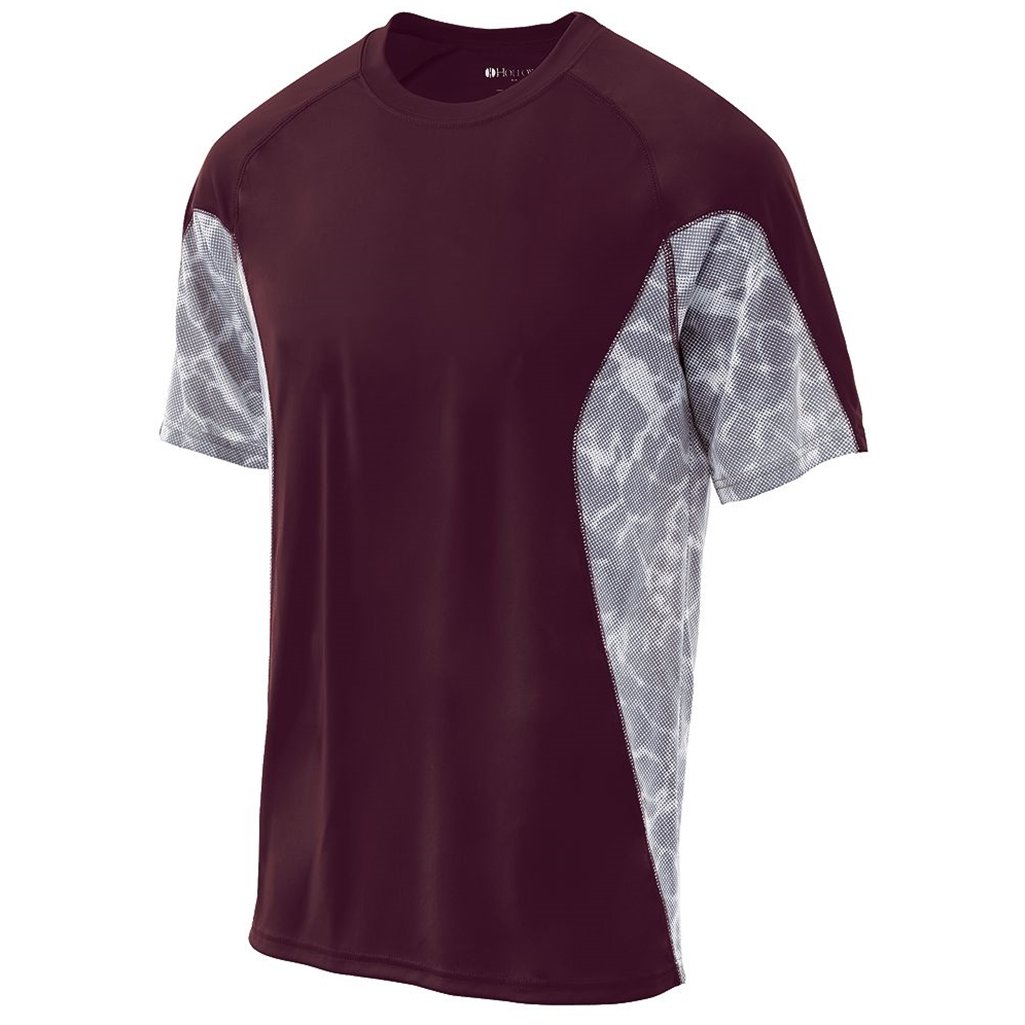 Holloway Youth Dry Tidal Shirt Semi-Fitted (Large, Dark Maroon/White Print) by Holloway
