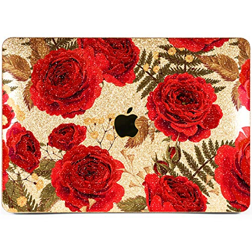 Lex Altern Glitter MacBook Air Case 13 inch Pro 15 12 11 2019 2018 2017 2016 2015 Bling Mac Apple Hard Retina Cover Sparkly Protective Shiny Gold Rhinestone Laptop Pattern Nature Red Rose Print Gift