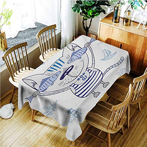 Tablecloth,Fish Naughty Cat with Fish in Striped T-Shirt Anchor Pendant and Nautical Maritime Sign,Table Cover for Dining,W54x90L,Blue Grey