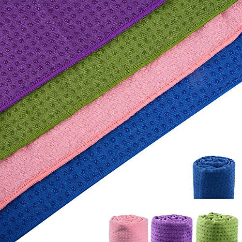 Yoga Mat Towel 100% Microfiber With Silicone Beads Purple