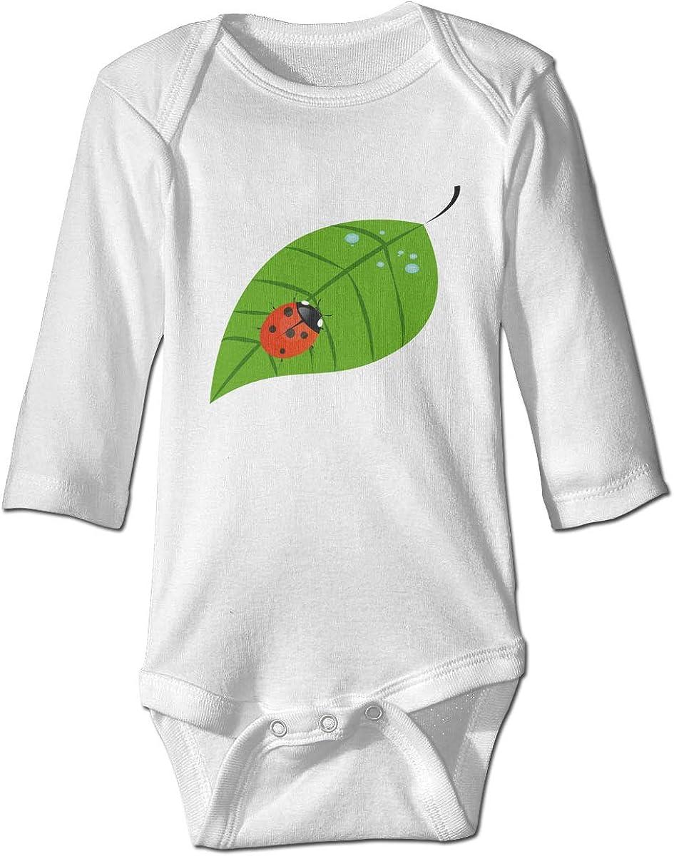 Ladybug On A Leaf Baby Bodysuit Long Sleeve Climbing Suit Gray