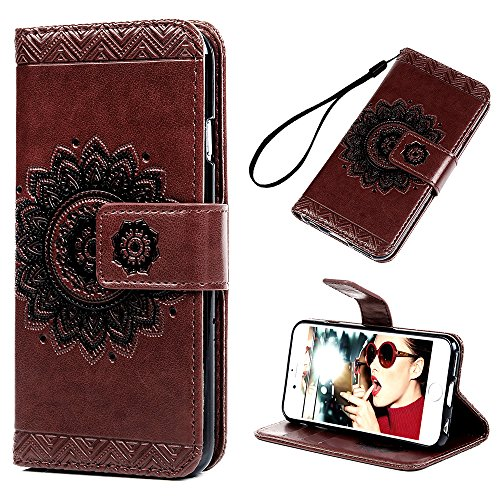 iPhone 6S/6 Wallet Case 4.7 inch, YOKIRIN PU Leather Dream Catcher 3D Relief Totem Embossed Folio Flip Full Protective Cover with Credit Card Holder Kickstand Magnetic Closure for iPhone 6/6S, Brown