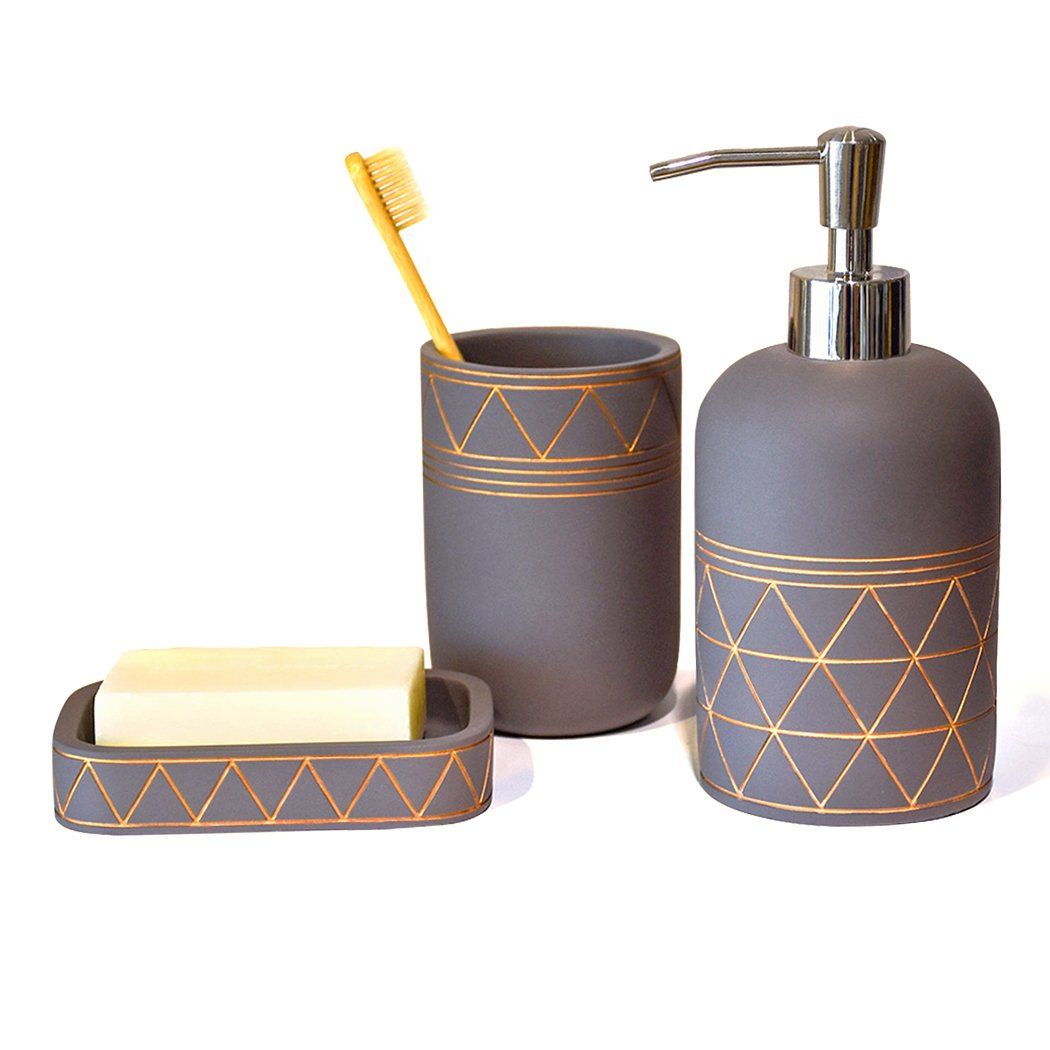 Bathroom Set Bathroom Accessories 3 Pieces Bathroom Soap Dispenser, Toothbrush Holder, Soap Dish Luxury Set for Bathroom Decor and Home Gift HB00009