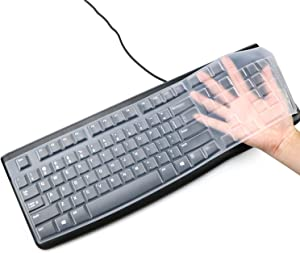 Masino® Silicone Keyboard Cover for Logitech K120 & MK120 Ergonomic Desktop USB Wired Keyboard Ultra Thin Protective Skin (for Logitech MK120 K120, Clear)