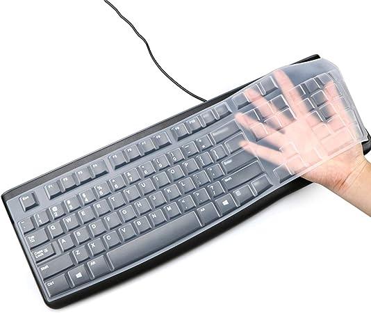 Funda de teclado de silicona para Logitech K120 y MK120 ergonómico teclado USB con cable ultra delgado protector (para Logitech MK120 K120, ...