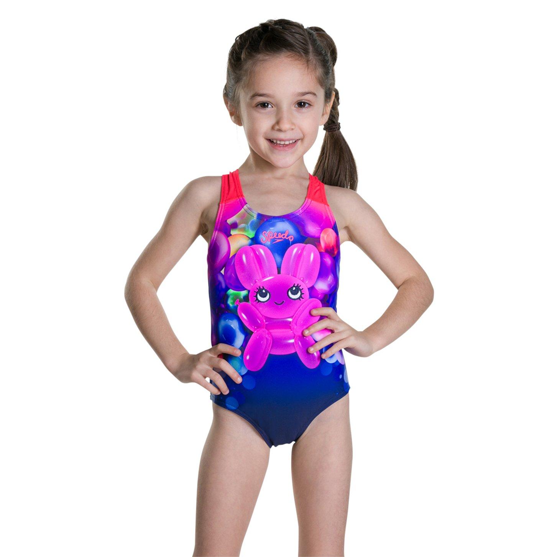 Navy//Post It Pink Costume da Bagno Bambina Speedo Essential Applique 6-9 Mesi Blu