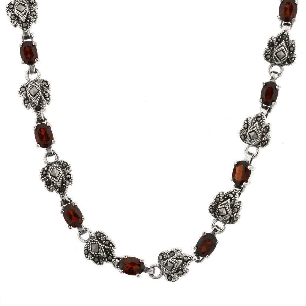 Sterling Silver Cubic Zirconia Garnet Marcasite Necklace, 16 inch long