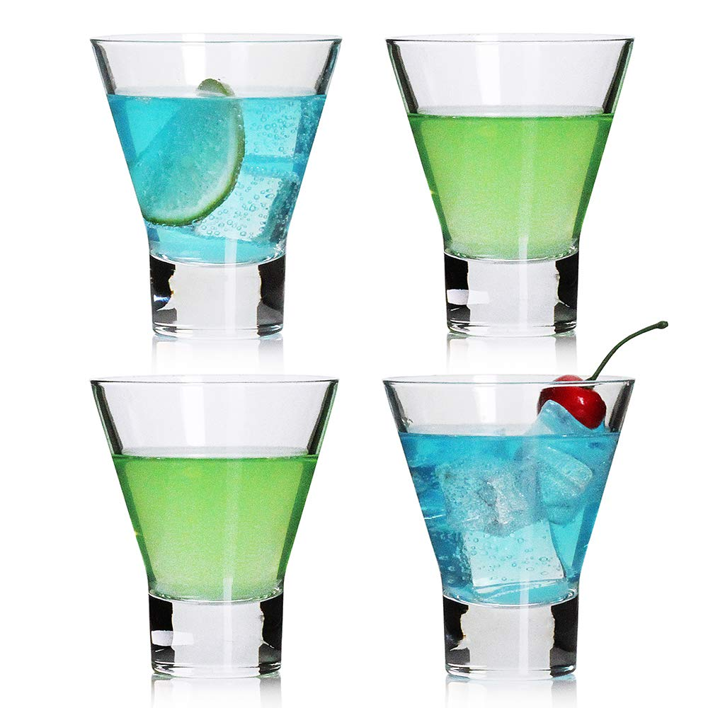 Martini Glasses,Cocktail Glasses Set of 4-Stemless Martini Cocktail Glass 8 Ounce. Cocktail Bar Glass Perfect Quality Gift for Banquet, Party, Wedding, Housewarming, Birthday Celebrations (4-pack)