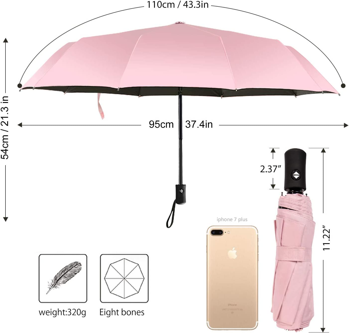 Rose Gold Pink Glitter Travel Umbrella Lightweight Compact Parasol Canopy Ergonomic With UV Protection For Sun Rain Auto Open And Close