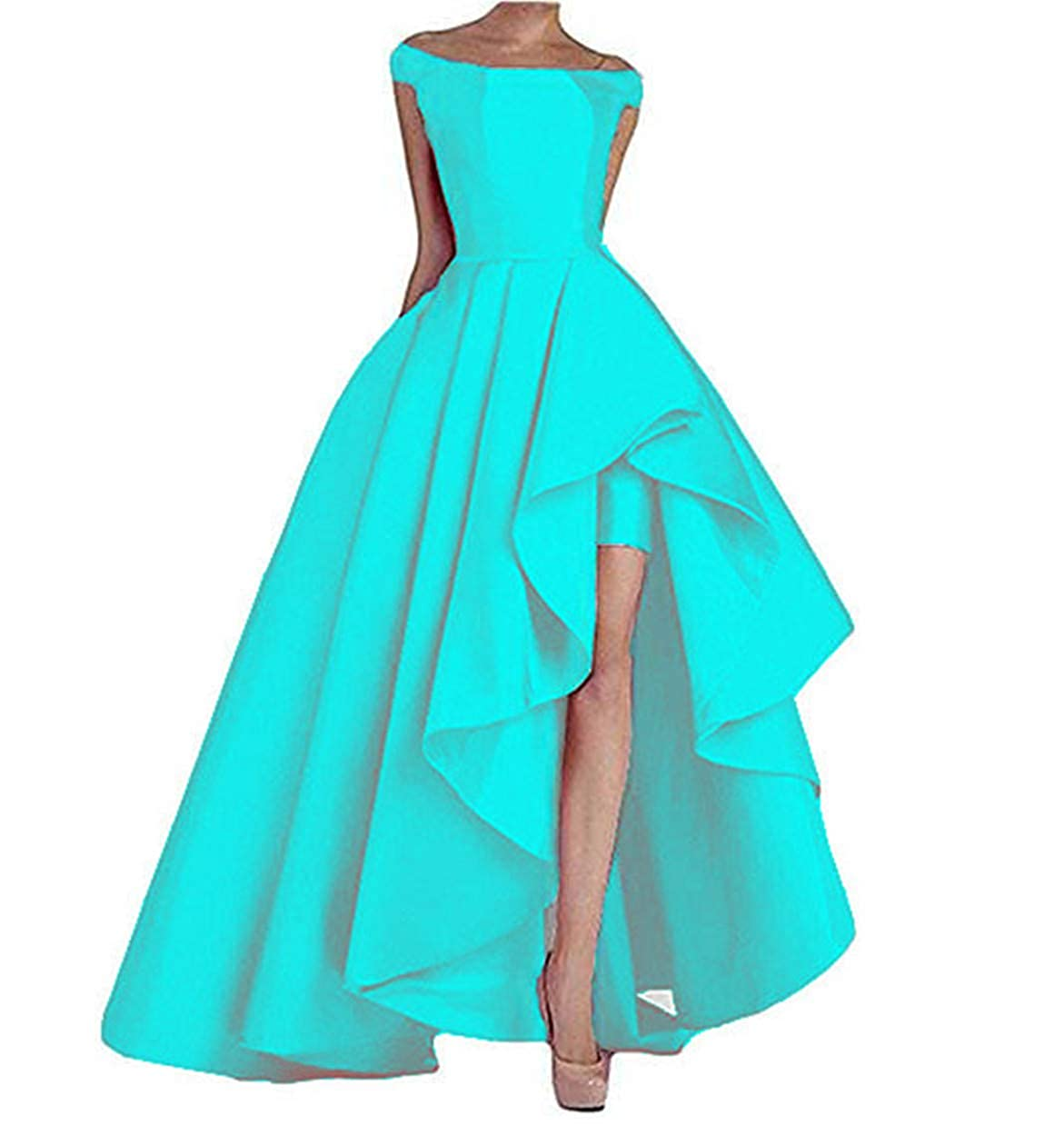 bluee Aiyue Yishen Women's OneShoulder Long Prom Dresses Gown Satin Evening Dresses