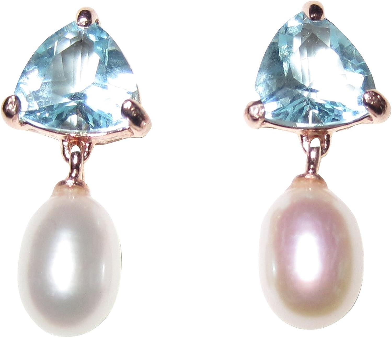 Discreto rotvergoldete Pendientes con un triangulares azules piedra y una perla agua dulce