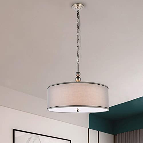 A1A9 Modern 4-Light Drum Pendant Light Fixture, 22 Nickel Fabric Shade, Acrylic Diffuser, Hanging Ceiling Lights, Simple Mid-Century Chandelier for Entryway, Hallway, Dining Room and Foyer